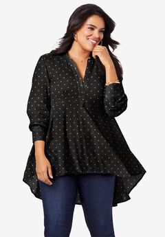 Fit-and-Flare Crinkle Tunic, BLACK WHITE DOTS