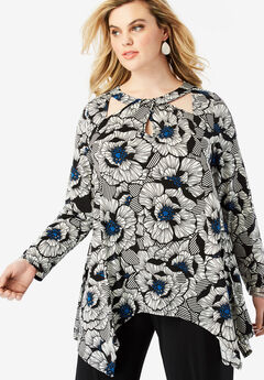 Cutout Swing Tunic, BLUE GRAPHIC FLORAL