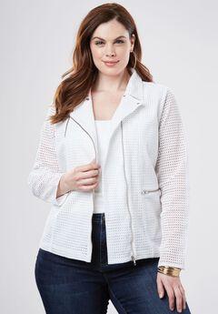 Eyelet Moto Jacket, WHITE, hi-res