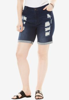 Distressed Shorts by Denim 24/7®, DARK WASH, hi-res