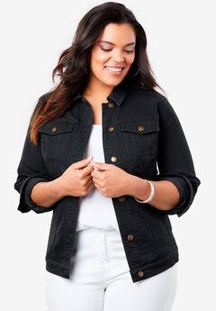 Essential Denim Jacket, BLACK