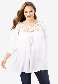 Lace Crochet Tunic, WHITE, hi-res