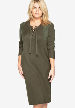 Lace-Up Sweater Dress with Faux Suede Shoulders by Castaluna,