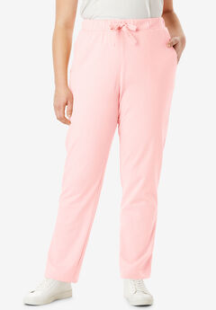 Straight Leg French Terry Pant with Drawstring, SOFT BLUSH