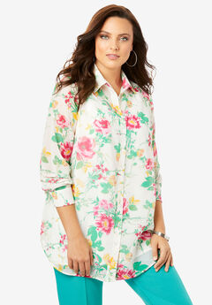 Georgette Tunic, MULTI WATERCOLOR FLORAL