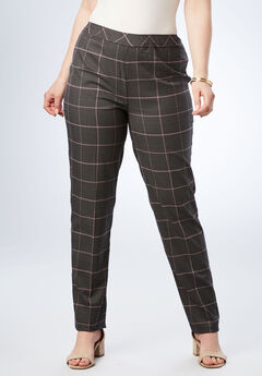 Bend Over® Classic Pant, PLUM WINDOWPANE PLAID
