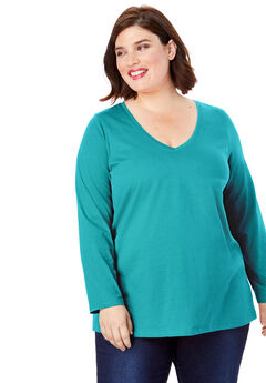 Long-Sleeve V-Neck Ultimate Tee, GEMSTONE GREEN