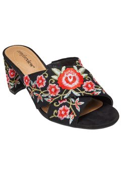 Rioux Mules by Comfortview®, BLACK EMBROIDERY