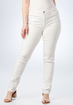 Straight Leg Jean with Invisible Stretch® by Denim 24/7®, WHITE DENIM