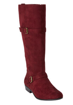 Henny Tall Calf Boots by Comfortview, BURGUNDY