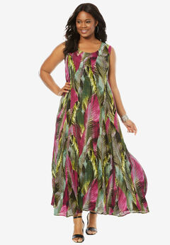 A-Line Crinkle Maxi Dress, RASPBERRY LEAF PRINT, hi-res