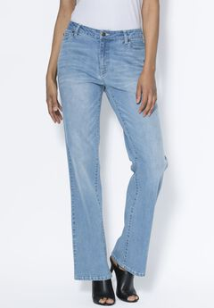 Bootcut Jeans With Invisible Stretch® Waistband by Denim 24/7®, LIGHT STONEWASH SANDED, hi-res