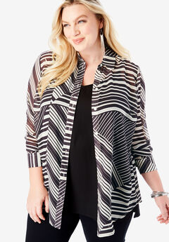 Georgette Tunic, BLACK IVORY STRIPE
