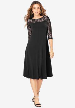 Ultrasmooth® Illusion Lace Swing Dress, BLACK