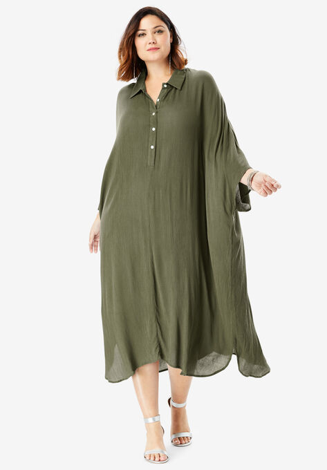 Pullover Crinkle Shirtdress with Dolman Sleeves