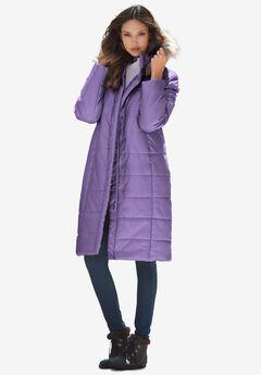 Mid-Length Puffer Jacket with Hood, VINTAGE LAVENDER