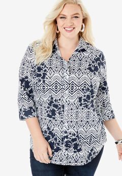 Three-Quarter Sleeve Kate Shirt, NAVY GEO FLORAL
