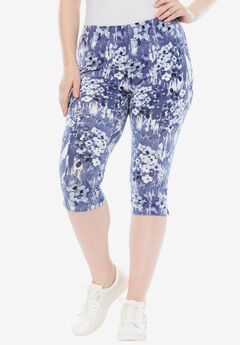 Printed Capri Leggings, DARK BLUE FLORAL PRINT, hi-res