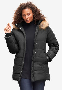 Classic-Length Puffer Jacket with Hood, BLACK