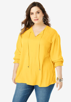 Tie-Neck Blouse with Blouson Sleeves, SUNSHINE YELLOW