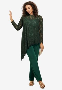 Lace Asymmetric Tunic & Pant Set, MIDNIGHT GREEN