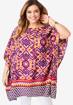 Printed Boatneck Caftan, MULTI IKAT BORDER