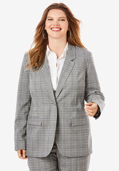 Fitted Blazer, GRAY PLAID