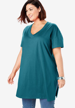 V-Neck Ultimate Tunic, BLUE CORAL