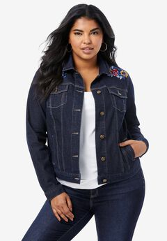 Statement Denim Jacket, BERRY EMBROIDERED FLORAL
