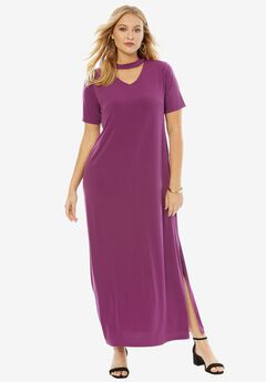 Banded Neck Dress, PLUM PURPLE, hi-res