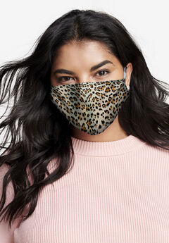 2-Layer Reusable Cotton Face Mask - Women's, BROWN LEOPARD