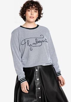 Embroidered Textured Sweatshirt Castaluna , BLACK WHITE