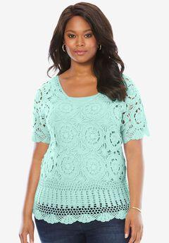 Crochet Sweater, AQUA MINT, hi-res