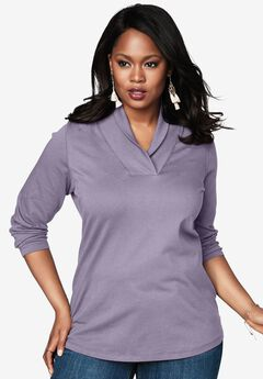 Ultimate Shawl Collar Tee, DARK LAVENDER, hi-res