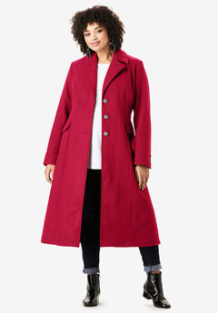 Long Wool-Blend Coat, CLASSIC RED