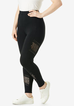 Essential Stretch Legging with Crochet Inset, BLACK