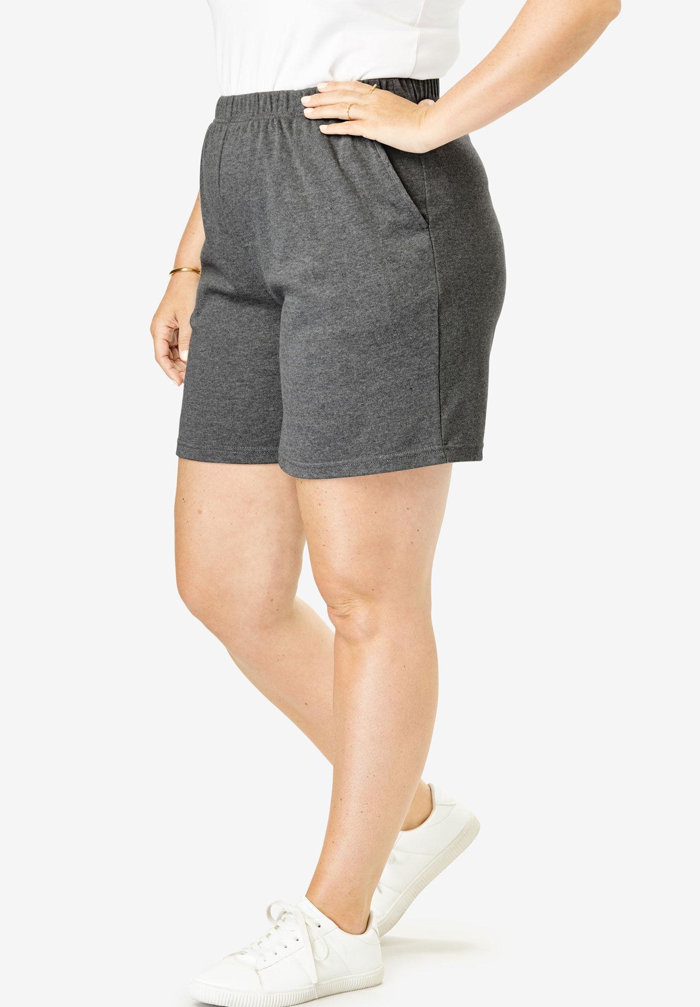 Roaman/'s   Stretch Knit Longer Length Bike Shorts Plus M 14-16  Purple