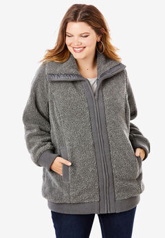Textured Fleece Bomber Coat, MEDIUM HEATHER GREY