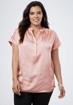 Satin Cap-Sleeve Shirt, ROSE HAZE, hi-res
