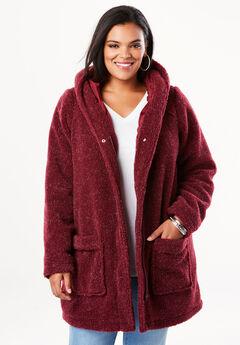 Hooded Textured Fleece Coat,