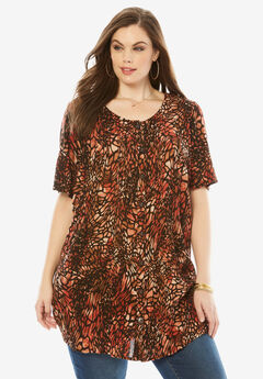 Angelina Tunic in Crinkle Crepe, ANIMAL PRINT