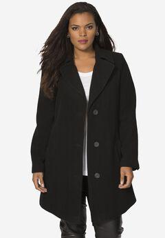 Short Wool Coat, BLACK, hi-res