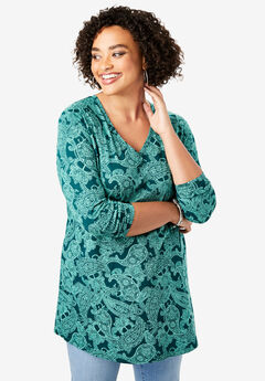 Long-Sleeve V-Neck Ultimate Tunic, HUNTER FANCY PAISLEY PRINT