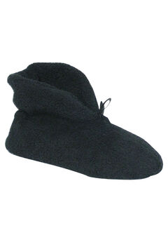 Micro Terry Cuff Slipper Booties by Muk Luks®, BLACK, hi-res