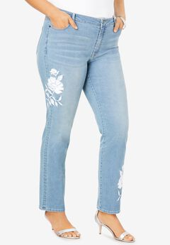 Floral Design Straight-Leg Jean , WHITE EMBROIDERED FLOWER
