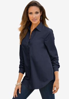 Long-Sleeve Kate Shirt, NAVY