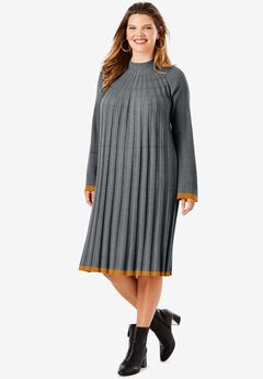 Swing Sweater Dress, DARK CHARCOAL