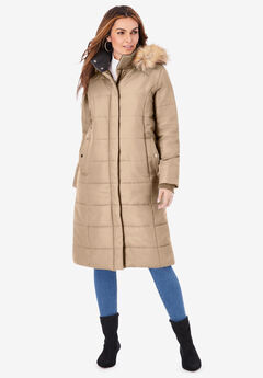 Mid-Length Puffer Jacket with Hood, SPARKLING CHAMPAGNE