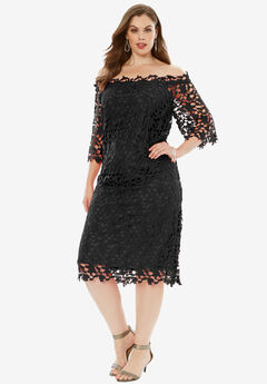 Off -The-Shoulder Lace Dress, BLACK, hi-res