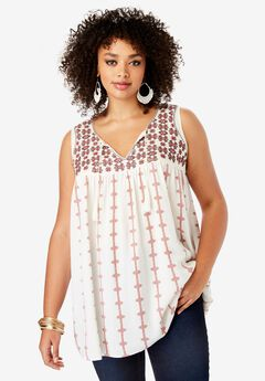 Notch-Neck Tank with Trapeze Silhouette,